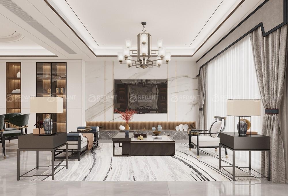 中航樾园280㎡新中式风格别墅装修案例